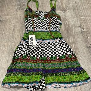 Kirat Romper Small Checkered Floral NWT